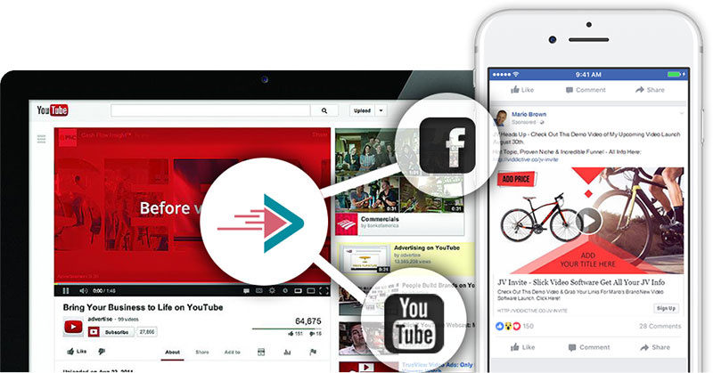 Viddictive can post video ads directly to Facebook and Youtube