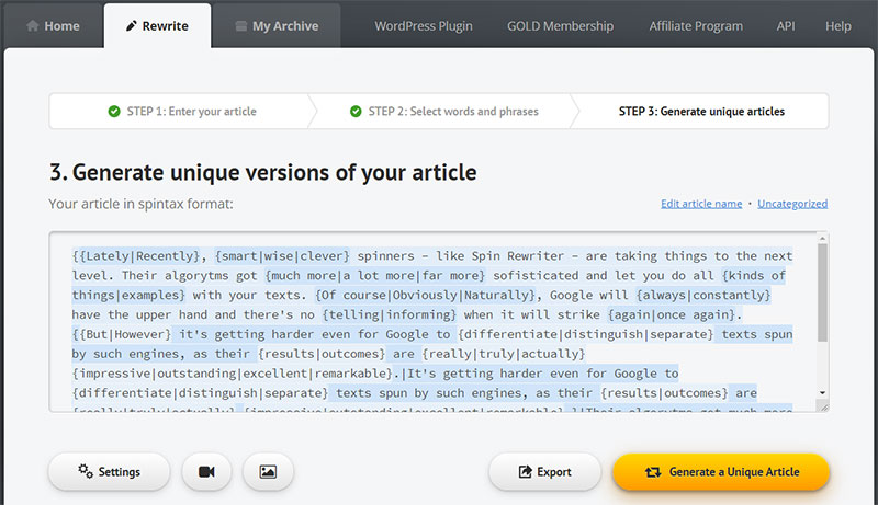 Spin Rewriter - spun article